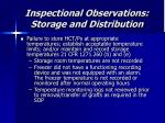 inspectional observations storage and distribution