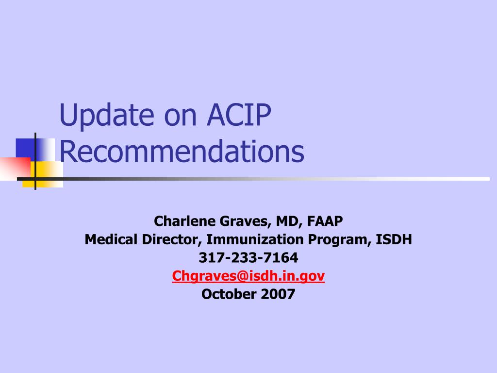 update on acip recommendations l.