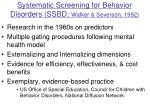 systematic screening for behavior disorders ssbd walker severson 1992