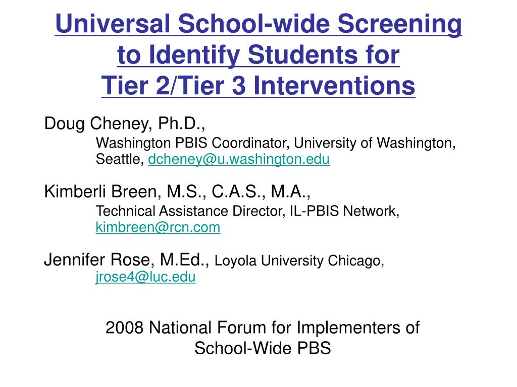 universal school wide screening to identify students for tier 2 tier 3 interventions l.
