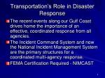 transportation s role in disaster response