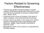factors related to screening effectiveness
