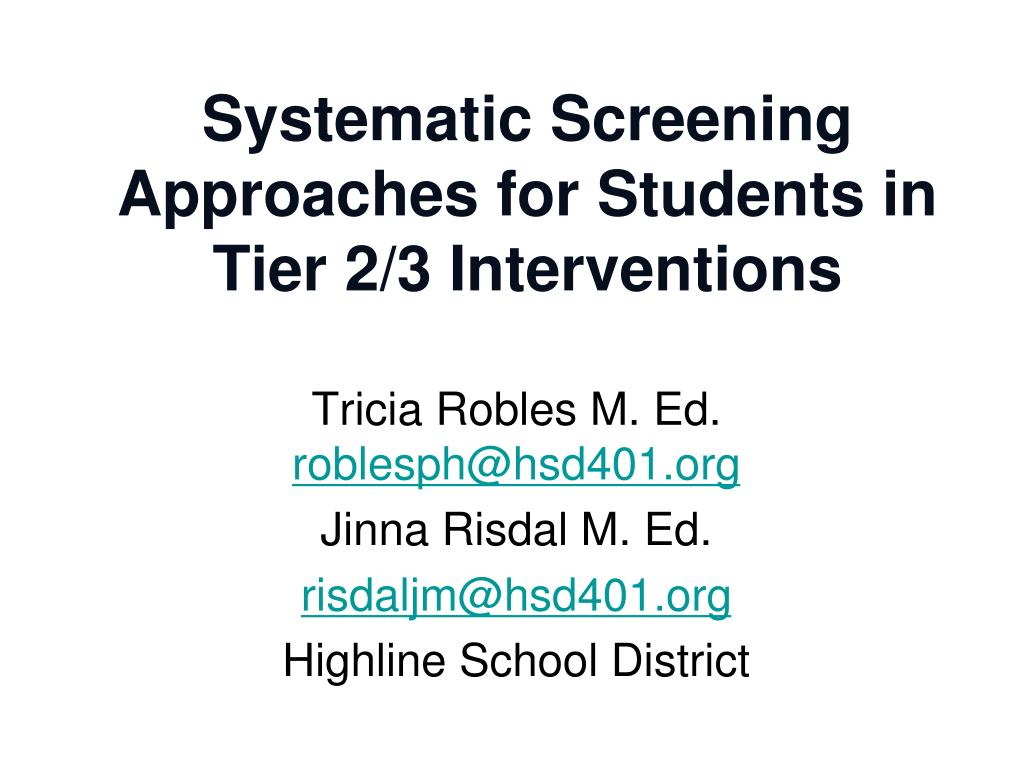 systematic screening approaches for students in tier 2 3 interventions l.