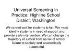universal screening in practice highline school district washington