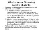 why universal screening benefits students