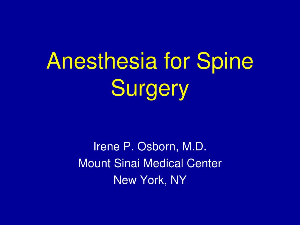 anesthesia for spine surgery l.