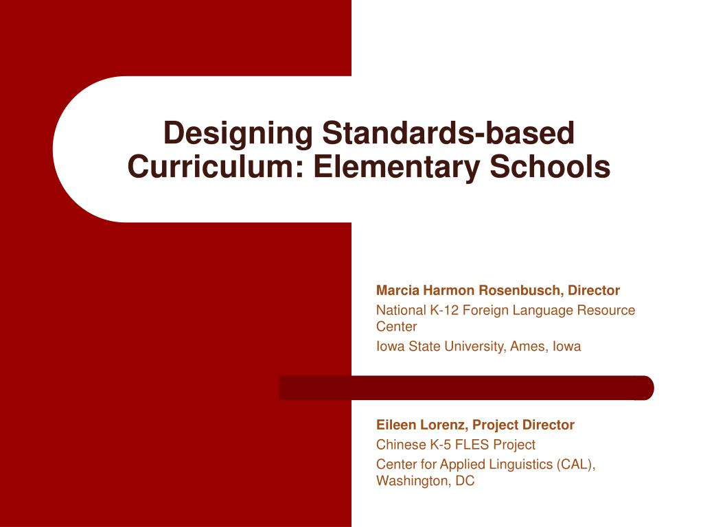 designing standards based curriculum elementary schools l.