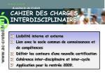 cahier des charges interdisciplinaire
