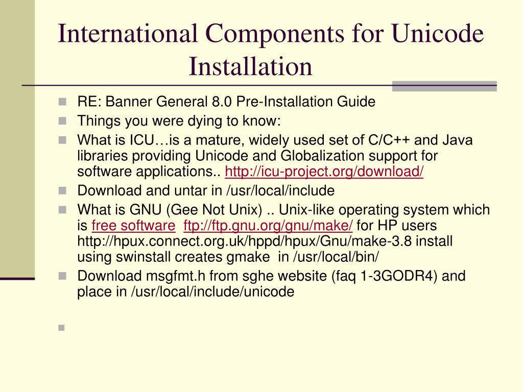 International Components for Unicode