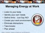 managing energy at work