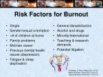 risk factors for burnout