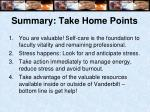 summary take home points