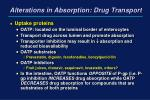 alterations in absorption drug transport19