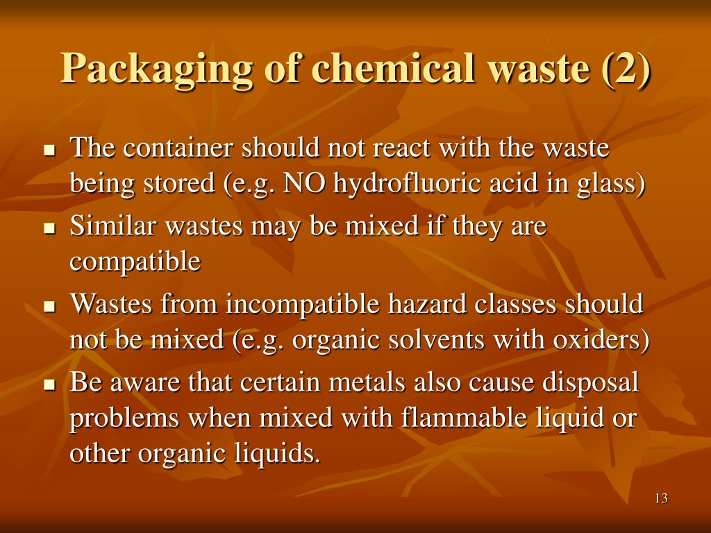 Packaging of chemical waste (2)