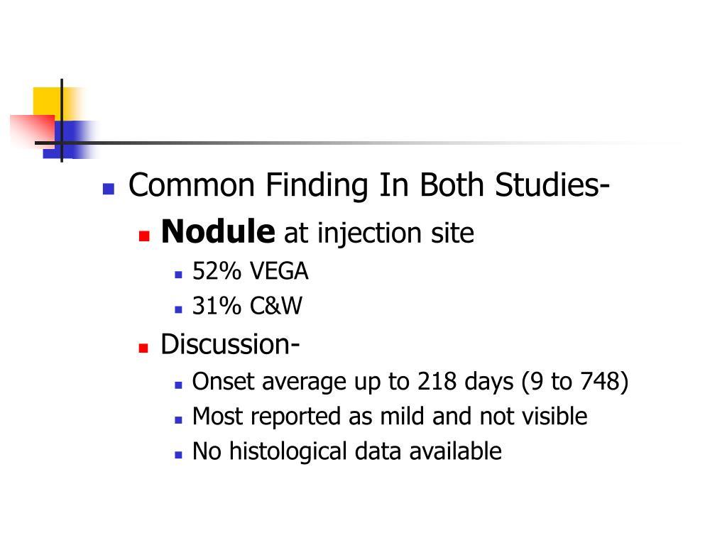 Common Finding In Both Studies-