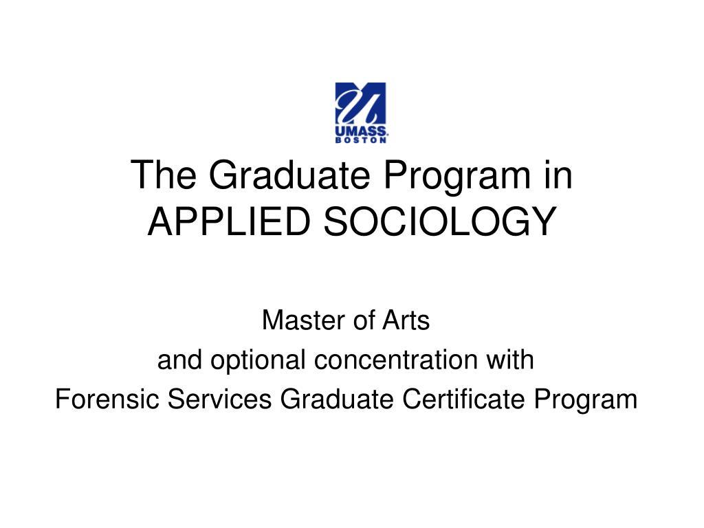 the graduate program in applied sociology l.