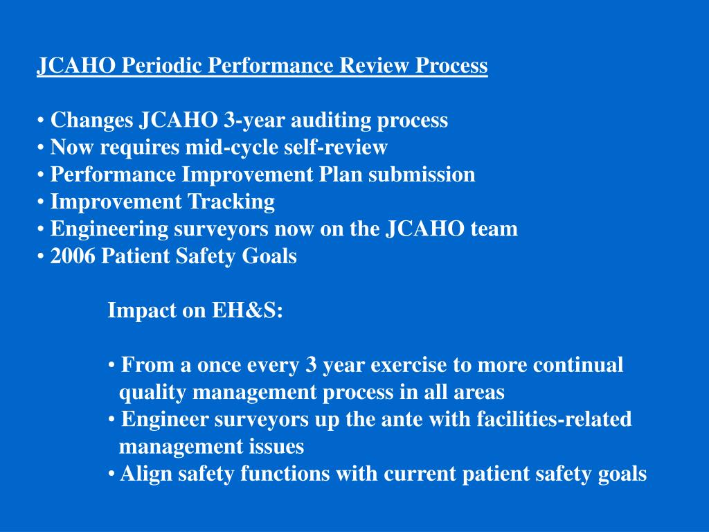 JCAHO Periodic Performance Review Process
