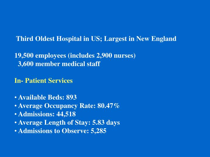 Third Oldest Hospital in US; Largest in New England