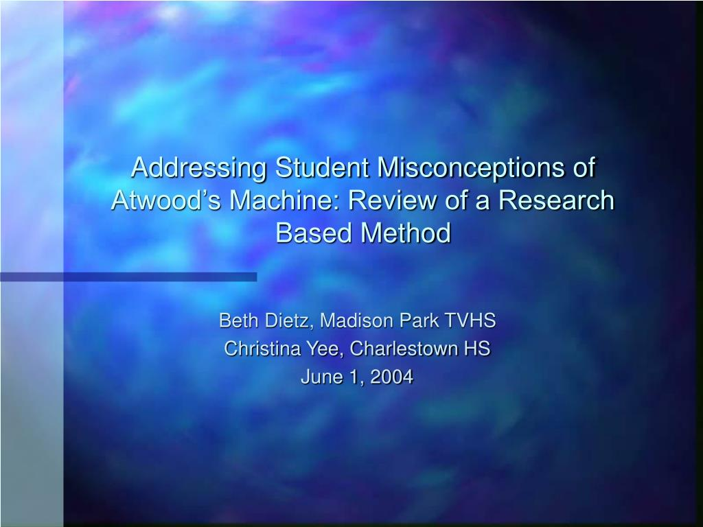 addressing student misconceptions of atwood s machine review of a research based method l.