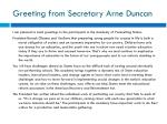 greeting from secretary arne duncan