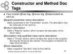 constructor and method doc tags