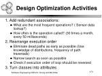 design optimization activities