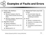 examples of faults and errors