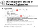 three high level phases of software engineering