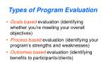 types of program evaluation
