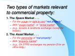 two types of markets relevant to commercial property