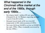 what happened in the cincinnati office market at the end of the 1980s through early 1990s