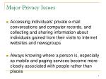 major privacy issues