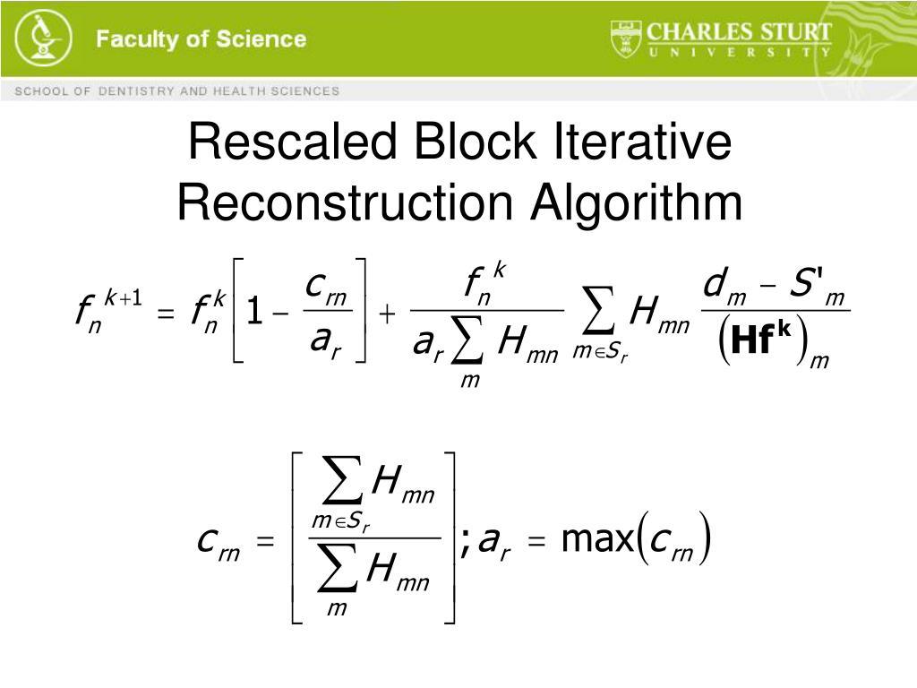 Rescaled Block Iterative Reconstruction Algorithm