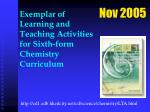 exemplar of learning and teaching activities for sixth form chemistry curriculum