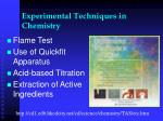 experimental techniques in chemistry