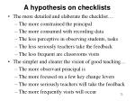 a hypothesis on checklists