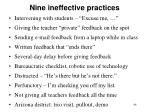 nine ineffective practices