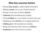 nine key success factors
