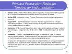principal preparation redesign timeline for implementation