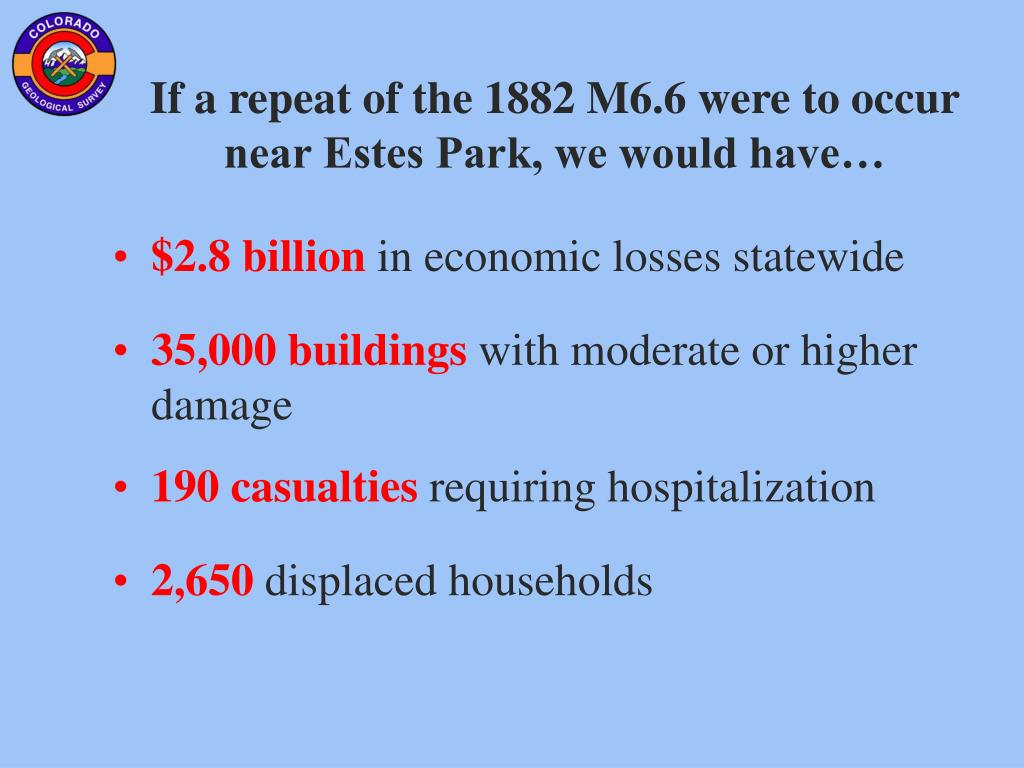 If a repeat of the 1882 M6.6 were to occur near Estes Park, we would have…