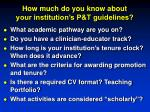 how much do you know about your institution s p t guidelines