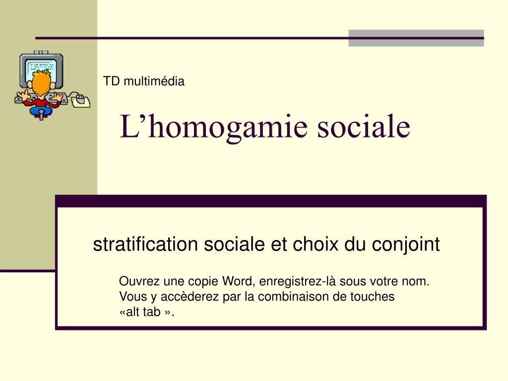 l homogamie sociale l.