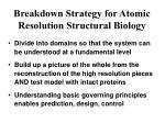 breakdown strategy for atomic resolution structural biology