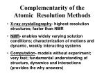 complementarity of the atomic resolution methods