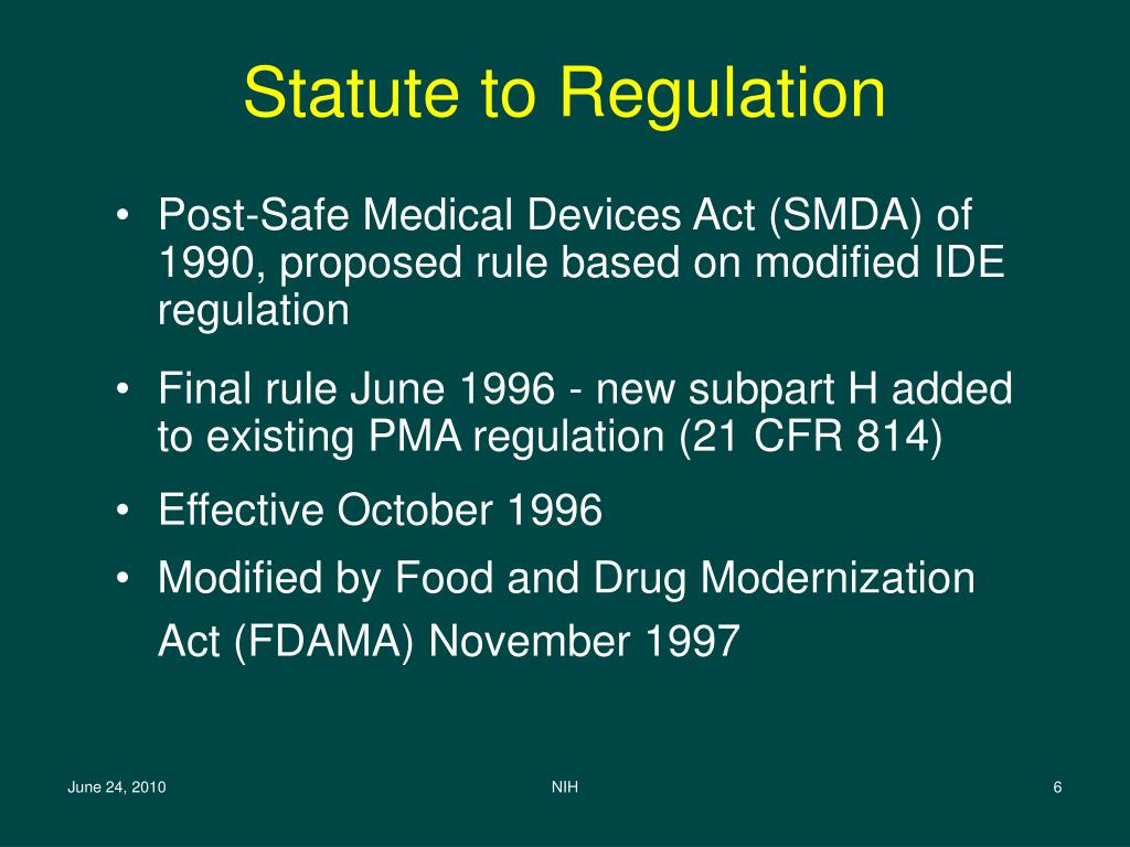 Statute to Regulation