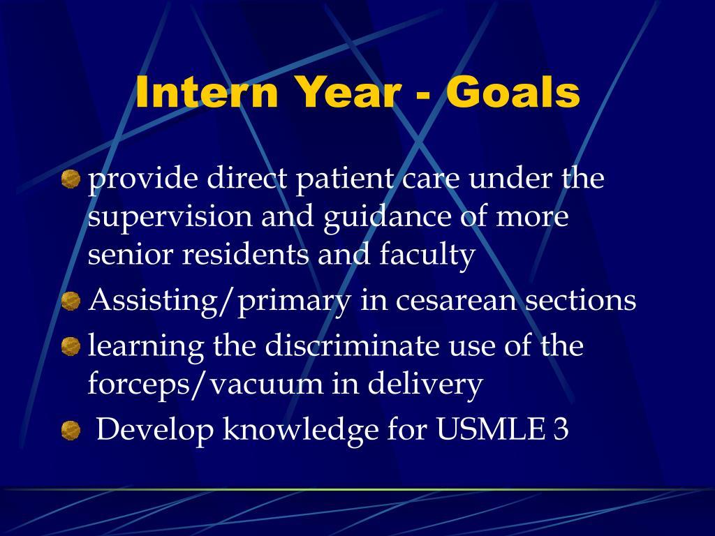 Intern Year - Goals