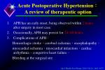 acute postoperative hypertension a review of therapeutic option