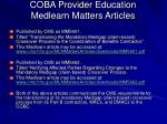 coba provider education medlearn matters articles