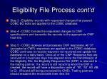 eligibility file process cont d