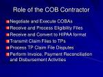 role of the cob contractor